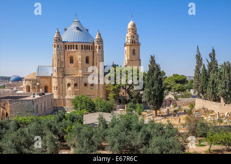 Abbey of the Dormition and catholic cemetery in Old City of Jerusalem, Israel. - Stock Photo