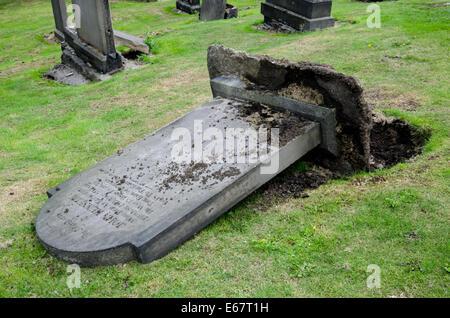 Fallen or toppled headstone in Old Calton Burial Ground, Waterloo Place, Edinburgh, Scotland. - Stock Photo