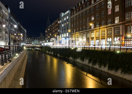 Water channel in the city center of Aarhus, Denmark, Europe - Stock Photo