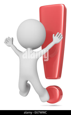 The Dude jumping in front of exclamation mark. Red isolated. - Stock Photo