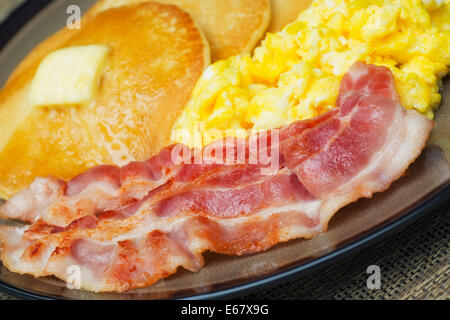 Eggs and Bacon, Scrambled Eggs and Pancakes, Pancake Breakfast - Stock Photo