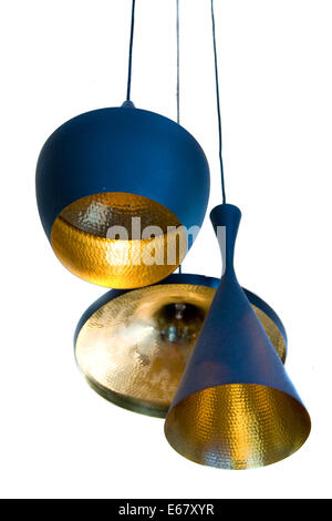lamp shades hanging from the ceiling isolated on white. - Stock Photo