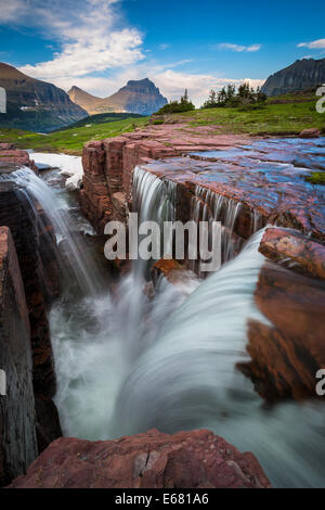 Logan Pass in Glacier National Park, Montana, located near the US-Canada border - Stock Photo