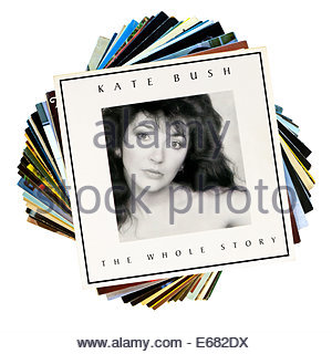 Kate Bush 1986 album The Whole Story, stacked LP covers, England - Stock Photo
