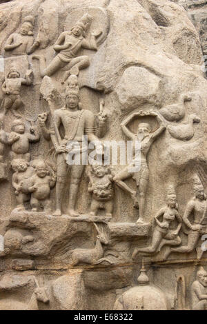 Arjuna doing his penance or Descent of the Ganges Palava carving at Mahabalipuram , the world's largest monolithic - Stock Photo