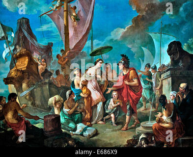 Arrival of Cleopatra ( Queen of Egypt ) at Tarsus to meet with Mark Antony 1756 Charles Joseph Natoire1700 -1777 - Stock Photo