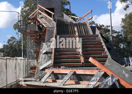 construction of a road pedestrian overbridge at heathcote in regional Sydney,australia - Stock Photo