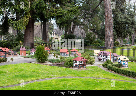 A model Tudor village in Fitzroy Gardens in Melbourne, Australia - Stock Photo