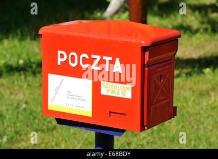 Polish Post Box, Wielkopolska province, Poland. - Stock Photo