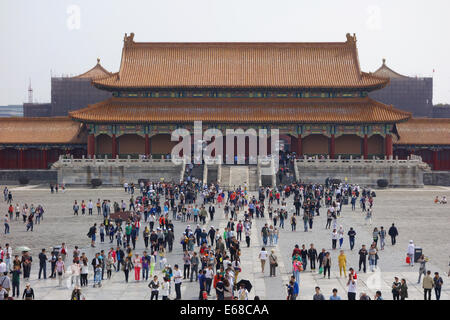 Forbidden City, courtyard at the Hall of Supreme Harmony, Outer Court, Forbidden City, Beijing, People's Republic - Stock Photo