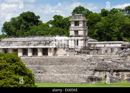 The Palace at the Mayan ruins of Palenque, Chiapas, Mexico. - Stock Photo