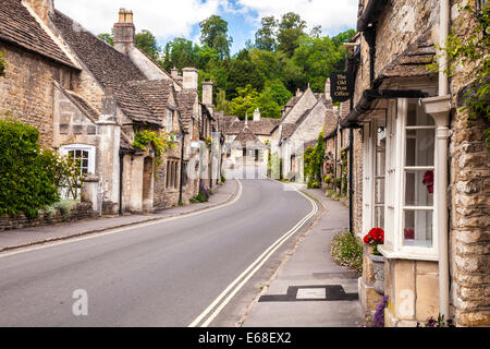 The picturesque Cotswold village of Castle Combe  in Wiltshire. - Stock Photo