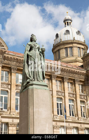 The frontage of Birmingham Council House, pictured behind the statue of Queen Victoria - Stock Photo