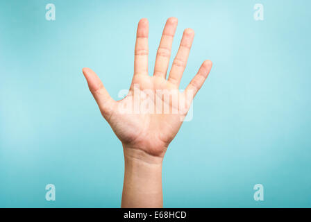 Stop concept with hand up - Stock Photo