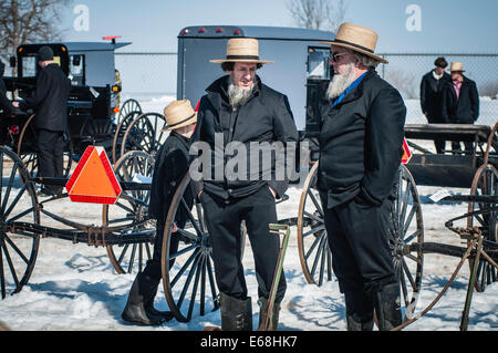 Amish mud sales, spring auctions animals furniture farm equipment supplies craft items tools antiques volunteer - Stock Photo