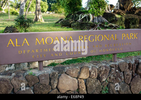 Hawaii Hawaiian Honolulu Ala Moana Beach State Regional Park sign - Stock Photo