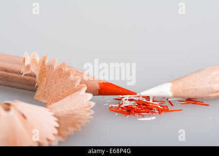 Shavings of red and white pencils - Stock Photo
