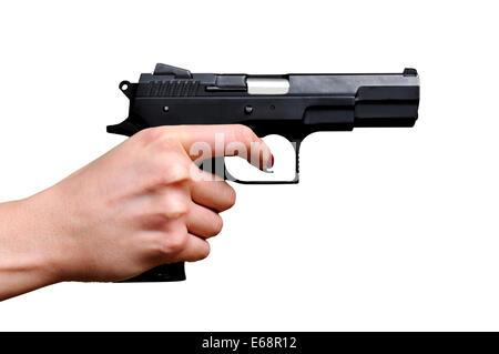 Black gun in a hand - Stock Photo