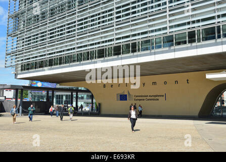 BRUSSELS, BELGIUM-AUGUST 05, 2014: Modern office of European Commission in European Quarter of Brussels - Stock Photo