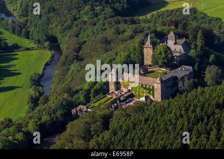 Hotel Burg Schnellenberg, aerial view, Attendorn, Sauerland, North Rhine-Westphalia, Germany - Stock Photo