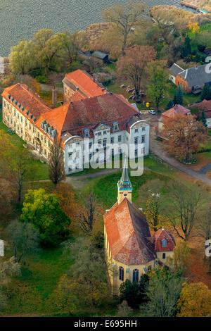 Aerial view, Schloss Ivenack Castle with castle church, Ivenack, Müritz lakeland, Mecklenburg Lake District - Stock Photo