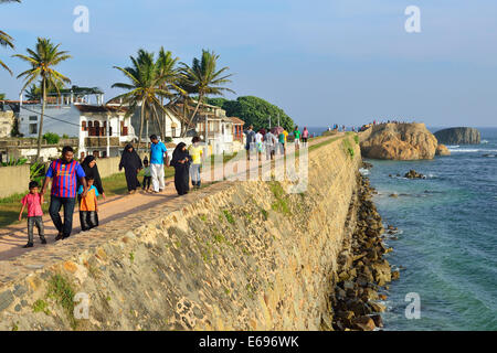 View from the fortification wall of Flag Rock Bastion, UNESCO World Heritage Site, Galle Fort, Galle, Southern Province - Stock Photo
