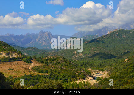 Solenzara Valley and the Aiguilles de Bavella, Corsica, France - Stock Photo