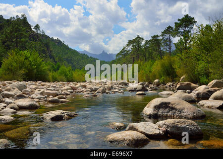 Riverbed of the Solenzara River in the Aiguilles de Bavella, Corsica, France - Stock Photo