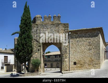 Old town gate, Baeza, Jaén province, Andalucía, Spain - Stock Photo