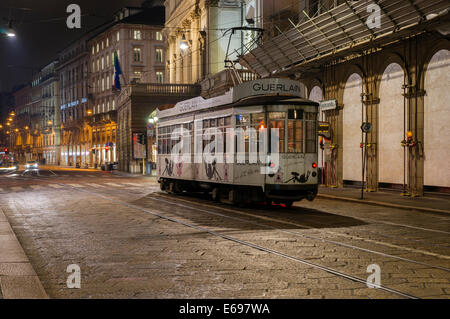 Tram in Via Manzoni, Milan, Lombardy, Italy - Stock Photo