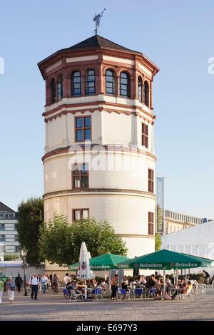 Schlossturm tower on the Rhine promenade, Düsseldorf, North Rhine-Westphalia, Germany - Stock Photo
