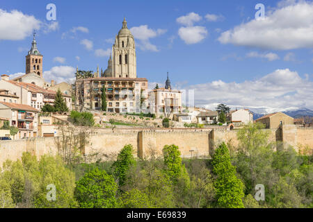 Segovia Cathedral and old town, Segovia, Castile and León, Spain - Stock Photo