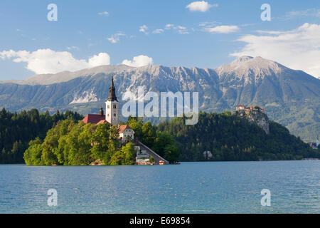 Bled island with St. Mary's Church, Lake Bled, Bled, Slovenia - Stock Photo
