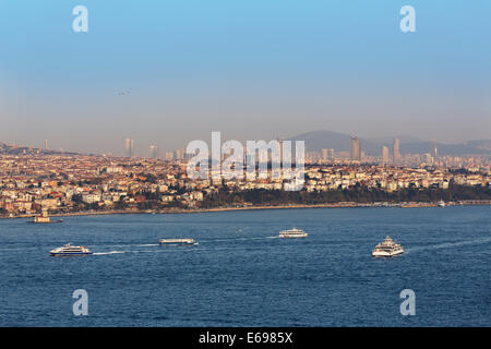 View from Galata Tower over the Bosphorus and Üsküdar, Istanbul, Asian side, Turkey - Stock Photo
