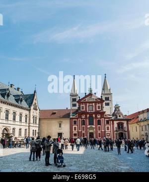 St. George's Basilica, Prague Castle, Hradcany, Prague, Czech Republic - Stock Photo
