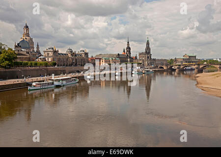 Cityscape Dresden with River Elbe and excursion ships in Dresden, Saxony, Germany, Europe - Stock Photo