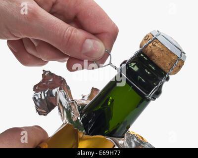 champagne bottle,opening - Stock Photo
