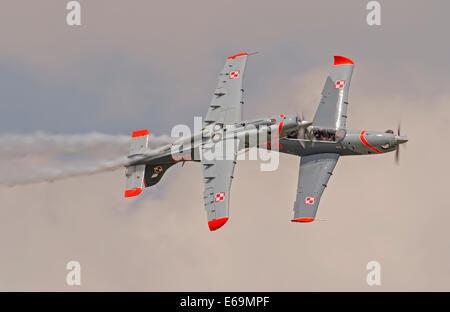 Turbo Orliks the Polish Air Force Aerobatic Team display at RIAT 2014 - Stock Photo