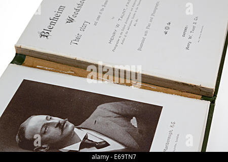 Antiquarian book with damaged spine - Stock Photo