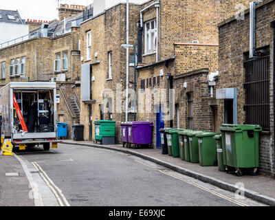 Recyling bins and trash cans in street , Quadrant road, Richmond upon Thames, Surrey, London, UK - Stock Photo