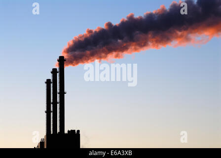 smoke stack,fug,thermal power station - Stock Photo
