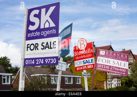 Group of house sale signs - Stock Photo