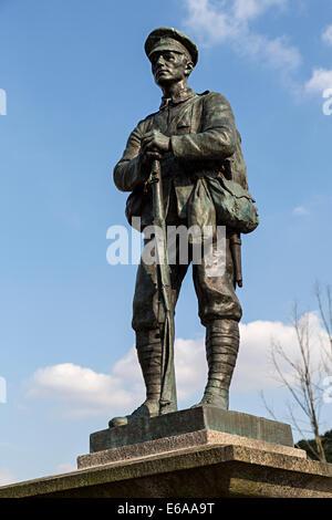 War Memorial soldier, Ironbridge, Shropshire, England, UK - Stock Photo