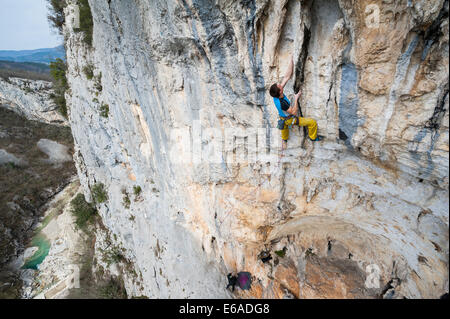 Rock climbing in Buzet canyon, Croatia. - Stock Photo