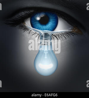 Depression therapy concept as a depressed human eye crying a tear shaped as a light bulb as a metaphor for solutions - Stock Photo