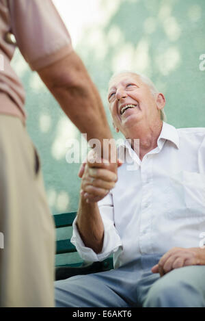 senior,togetherness,trust,meet,older couple - Stock Photo