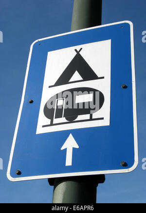 traffic sign,camping,trailer place - Stock Photo