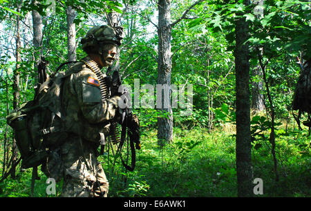 A U.S. Soldier assigned to Charlie Company, 1st Battalion, 87th Infantry Regiment, 10th Mountain Division moves - Stock Photo