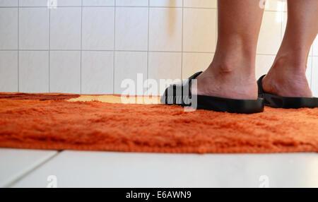 bathroom,sandal,bathroom rug - Stock Photo