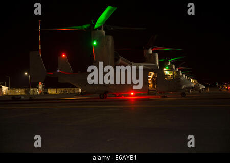 U.S. Marine Corps MV-22B Osprey tiltrotor aircraft assigned to Special Purpose Marine Air-Ground Task Force Crisis - Stock Photo